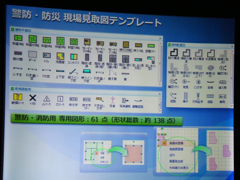 警防・防災現場見取図テンプレート収録図形の例