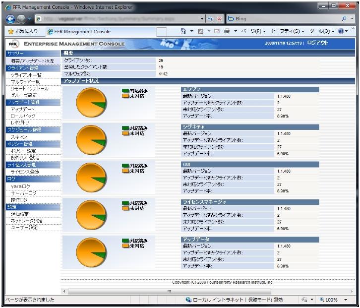 クライアント管理機能を搭載した「FFR yarai 2009」の操作画面