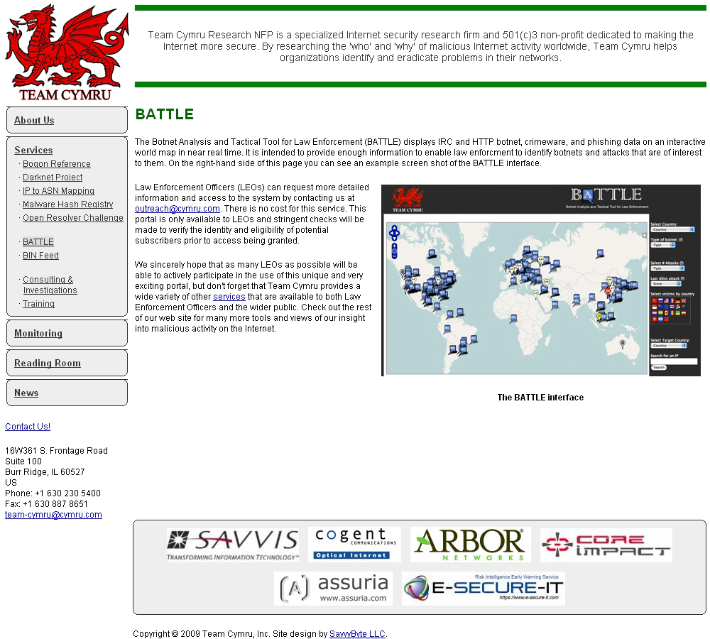 「BATTLE(Botnet Analysis and Tactical Tool for Law Enforcement)」のサイト