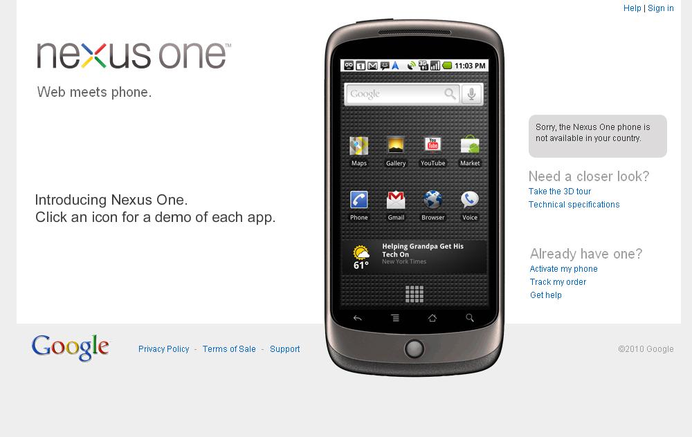 「Nexus One」の紹介ページ。日本からは購入できないが、ページ上の端末画像のボタンやアイコンをクリックして操作感を体験することなどが可能だ
