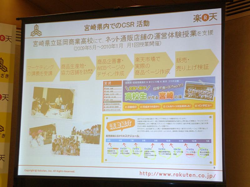 楽天では宮崎県立延岡商業高校のネット通販店舗の運営体験授業も支援している