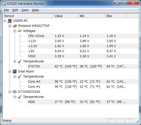 「CPUID Hardware Monitor」の表示。左がファンなし、右がファンあり