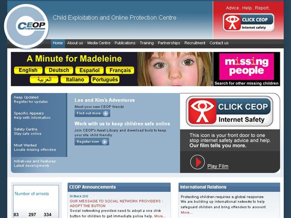 CEOPのWebサイトでも、各ページに「CLICK CEOP」ボタンを設置している(右上)