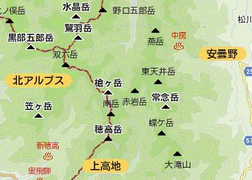 標高のグラデーション表現と、観光地ラベルの表示例