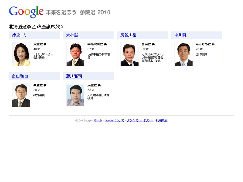 各選挙区・比例区の候補者一覧がまとめられている