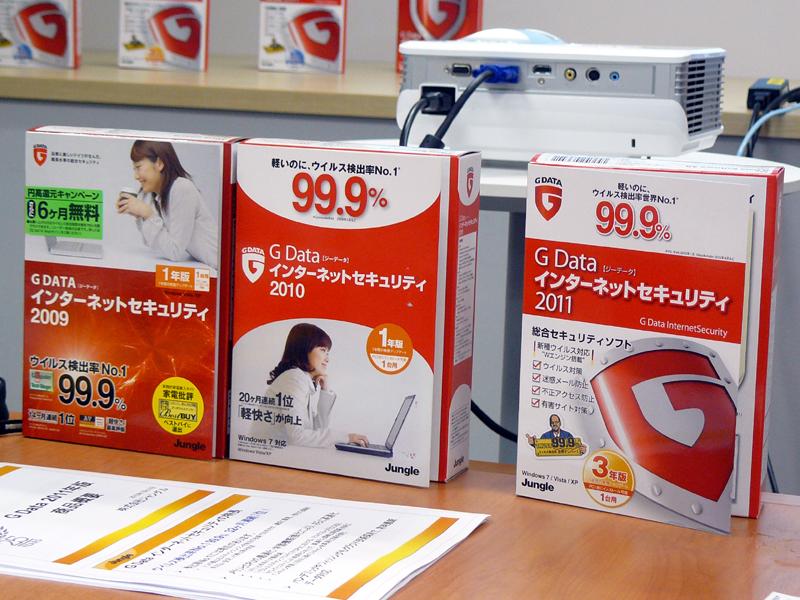 2009年版(左)や2010年版(中)は、どことなく他社製品に似ているパッケージだったが、2011年版(右)では、ロゴを大きくあしらい、G Data製品であることを押し出したデザインとした