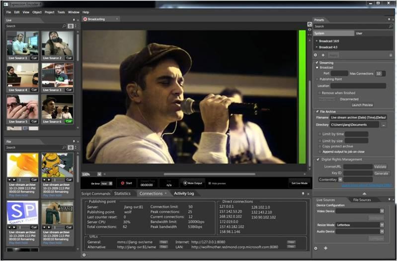 ライブブロードキャストの画面