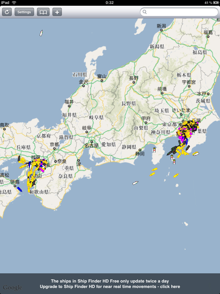 日本国内では東京湾および大阪湾の情報がわかる