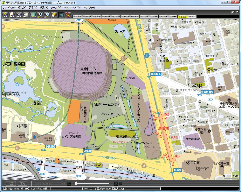 縮尺約1/1500の「5千市街図」表示例