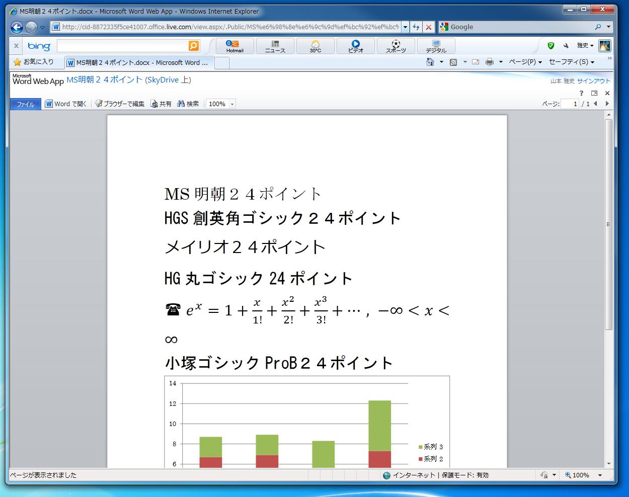 表示画面では、数式、グラフは表示されている