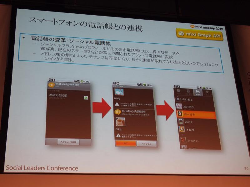 スマートフォンの電話帳とmixiのプロフィールが連携する「ソーシャル電話帳」のイメージ