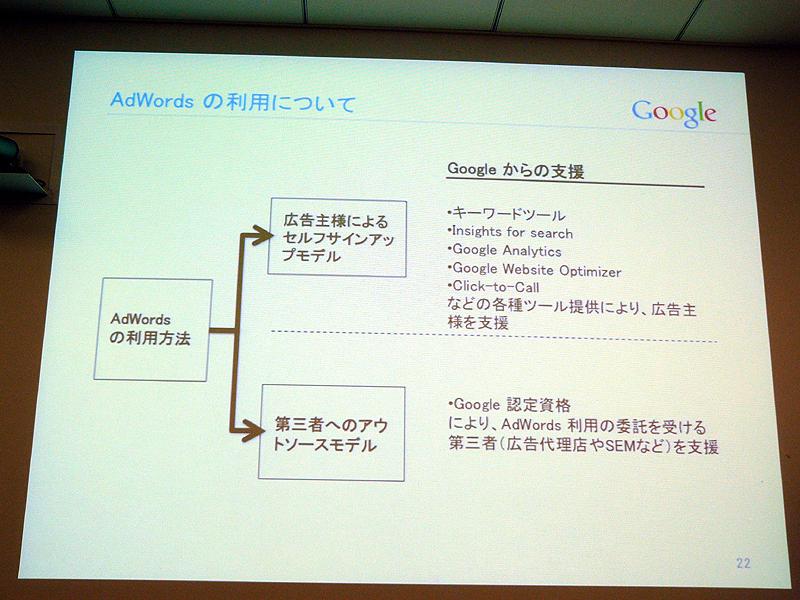 AdWordsの2つの利用モデル。広告主によるセルフサインアップモデルとアウトソースモデル