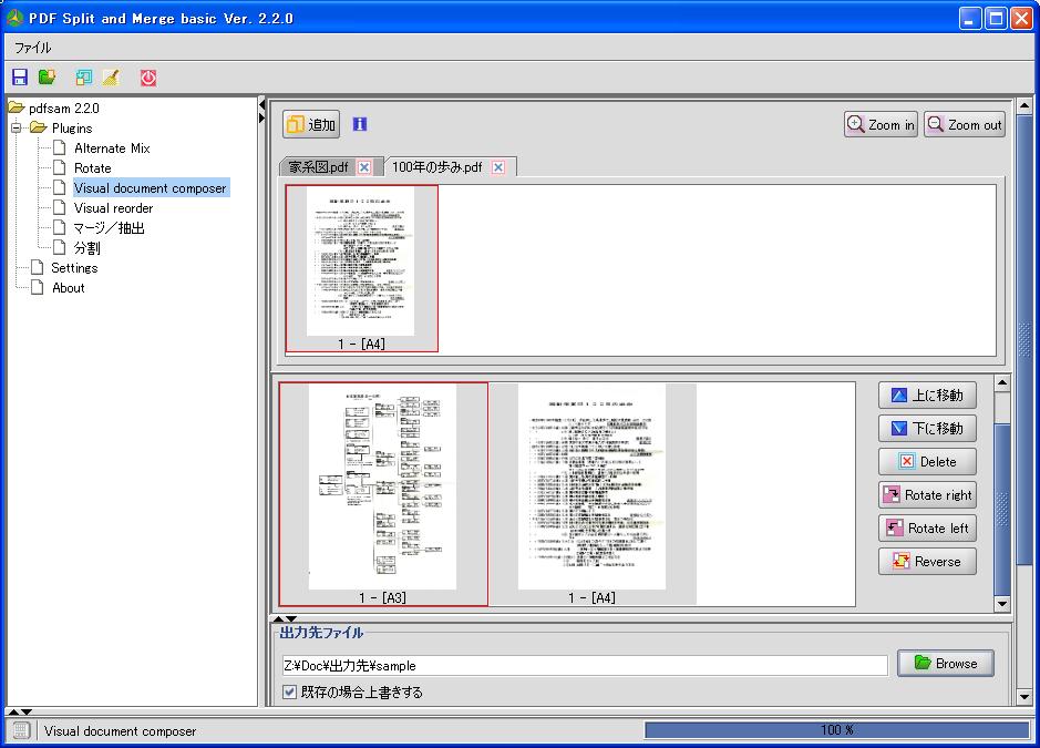 「Visual document composer」画面