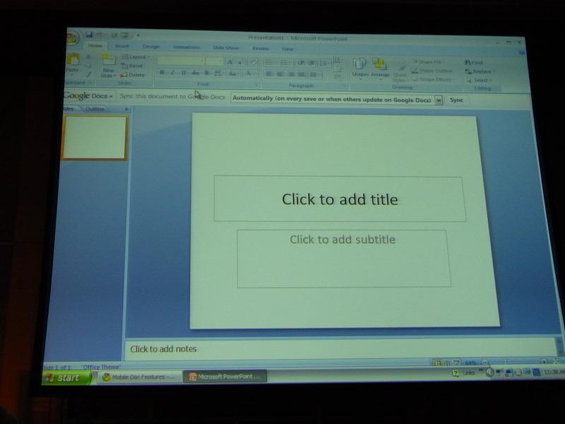 PowerPointにツールバーを追加し、ファイルを保存するかわりにGoogle Docsと同期する