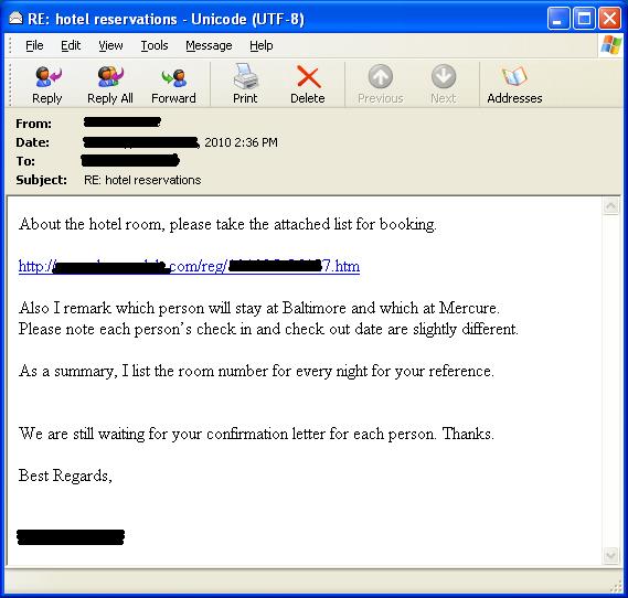 標的型攻撃メールの例(シマンテック日本語版セキュリティレスポンスブログより画像転載)