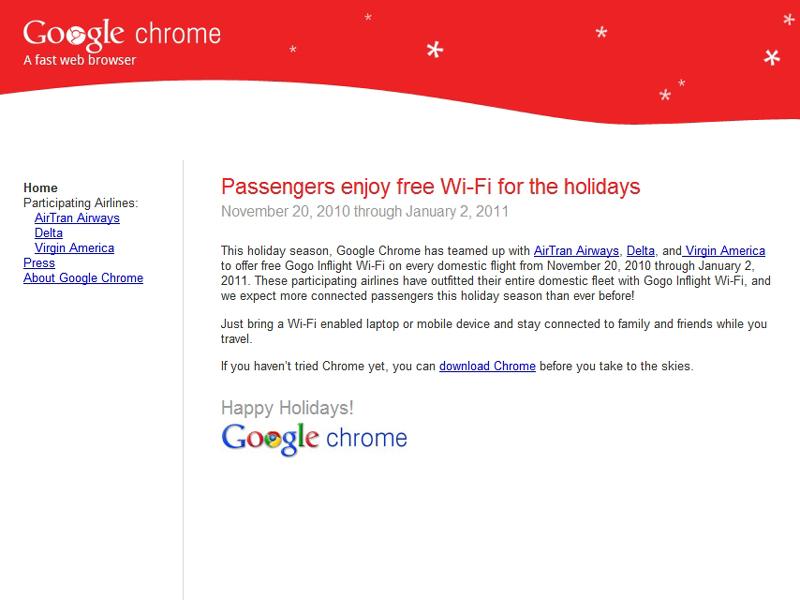 無料Wi-Fiサービスの案内ページ「Free WiFi from Google Chrome」
