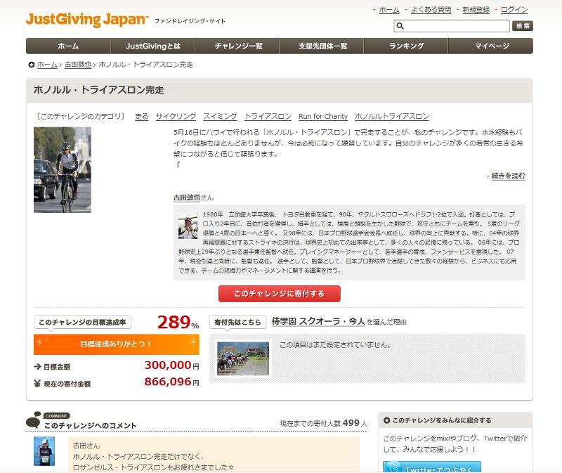 JustGiving Japanのサイト。元プロ野球選手の古田敦也氏がホノルルトライアスロンに挑み、86万円の寄付を集めた