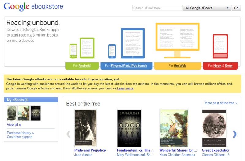 米国でサービスが始まったGoogleの電子書籍販売サービス「Google eBooks」