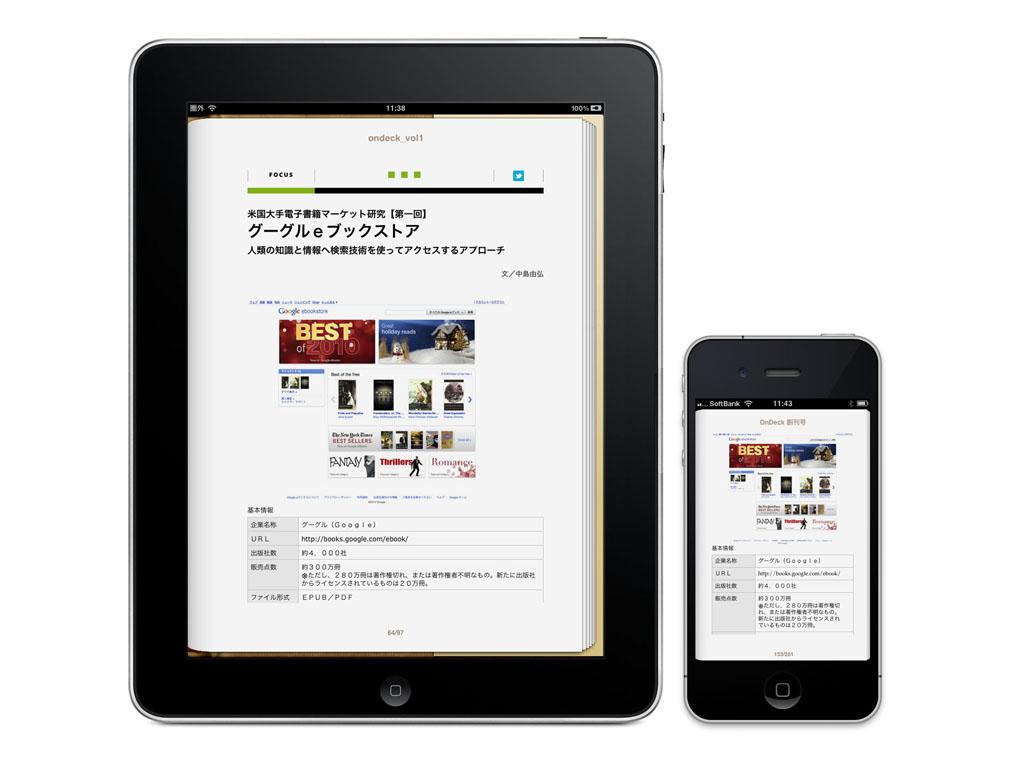 「OnDeck」のページをiPhoneとiPadで表示したところ。同じ部分を表示しているが、リフロー型のため、ページ数やページレイアウトは異なる