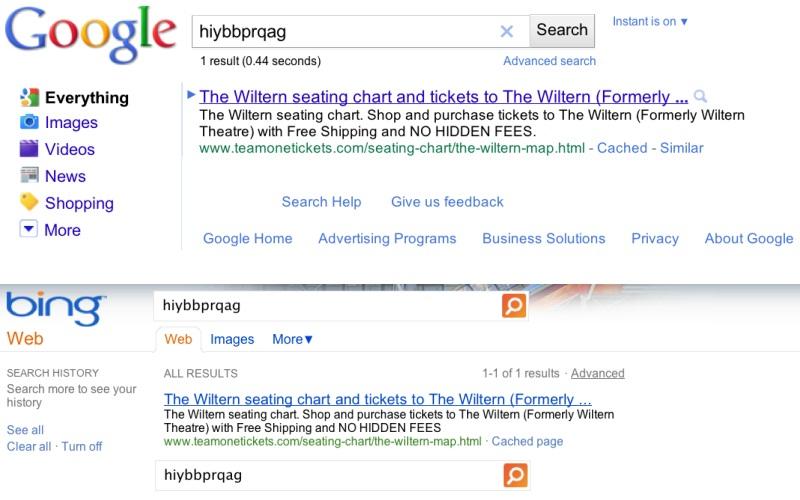 「hiybbprqag」に対するGoogleの検索結果(上)とBingの検索結果(下)(Google公式ブログより)