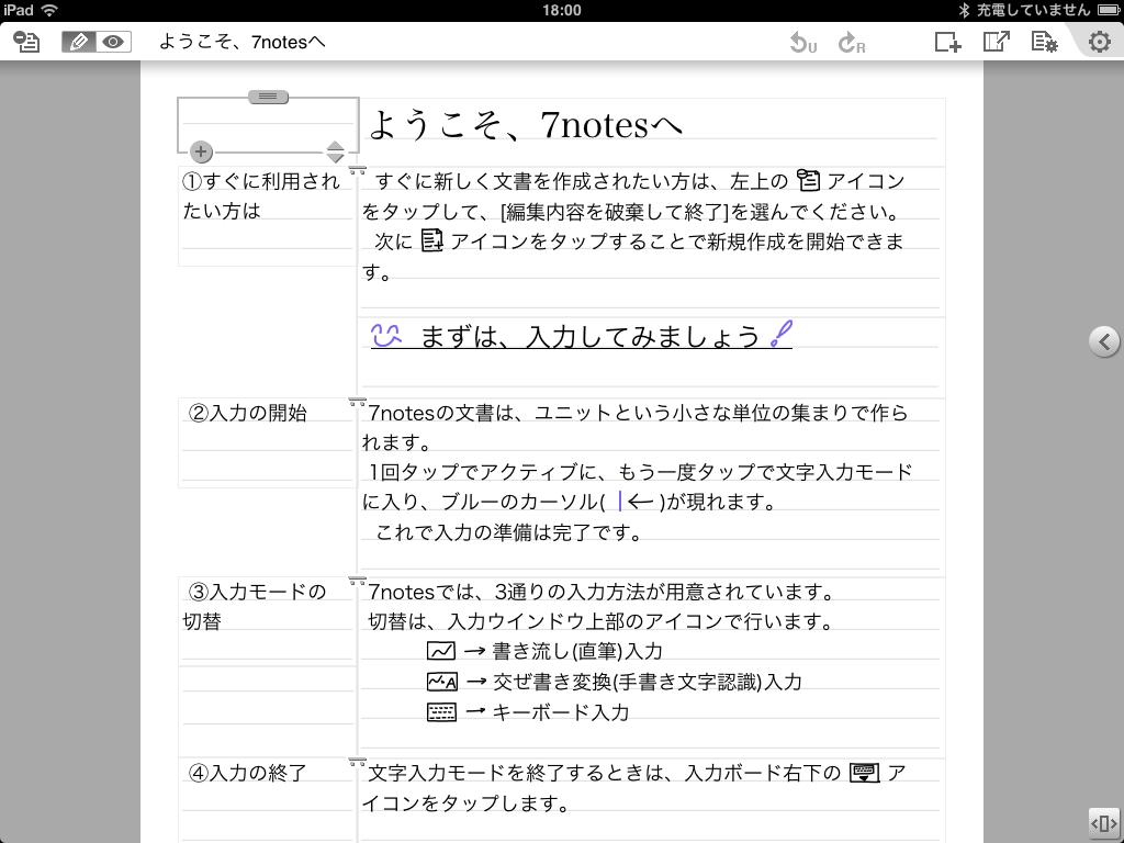 「7notes」をはじめて起動した画面。使い方ガイドの文書が表示される