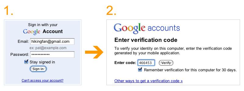 2段階認証(2-step verification)の手順(Google公式ブログより画像転載)