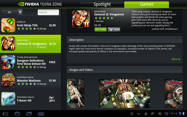 NVIDIA TEGRA ZONE。Tegra2の性能を活かしたゲームが紹介されている