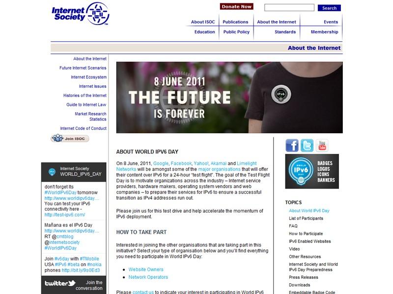 World IPv6 Dayのサイト