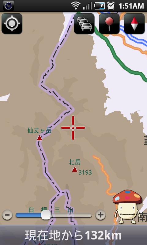 山岳地の地図