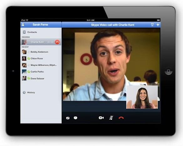 Skype for iPad(Skype公式ブログの動画より)