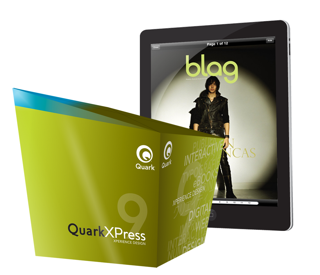 「QuarkXPress 9」のパッケージと、新機能「App Studio」で作成したiPad電子書籍アプリのイメージ