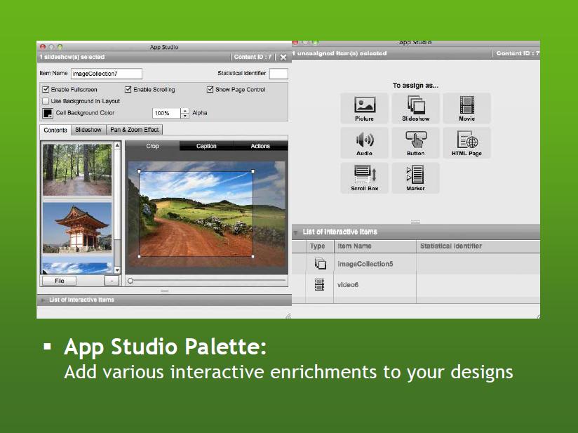 「QuarkXPress 9.1」に搭載されたApp Studioパレット