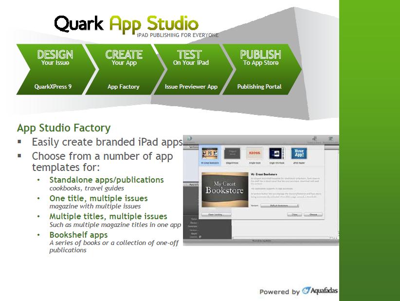 「App Studio」による作業の流れと、「App Studio Factory」画面およびテンプレートの種類