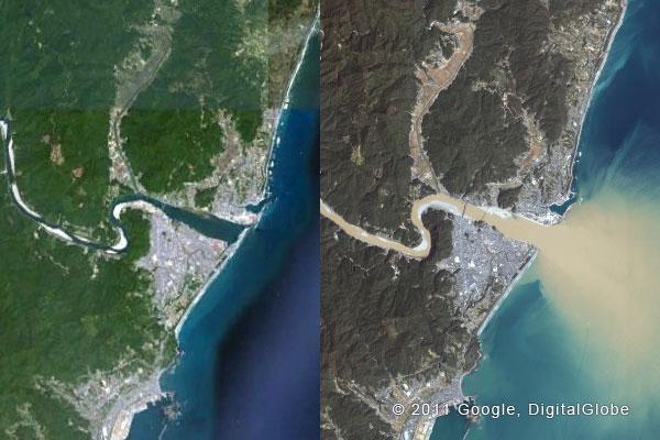 グーグルが公開した和歌山県新宮市熊野川下流域の衛星写真