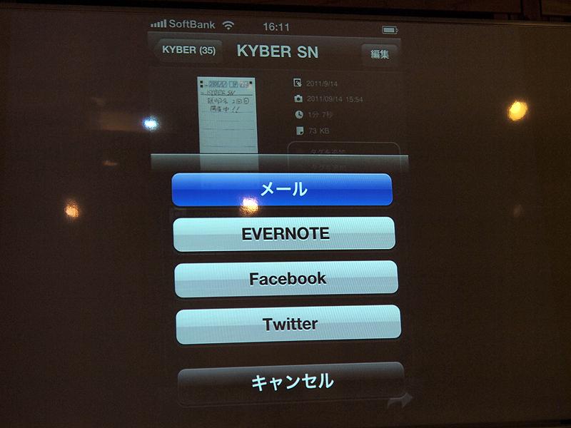 デジタル化したデータは、メール、Evernote、Facebook、Twitterに送信可能