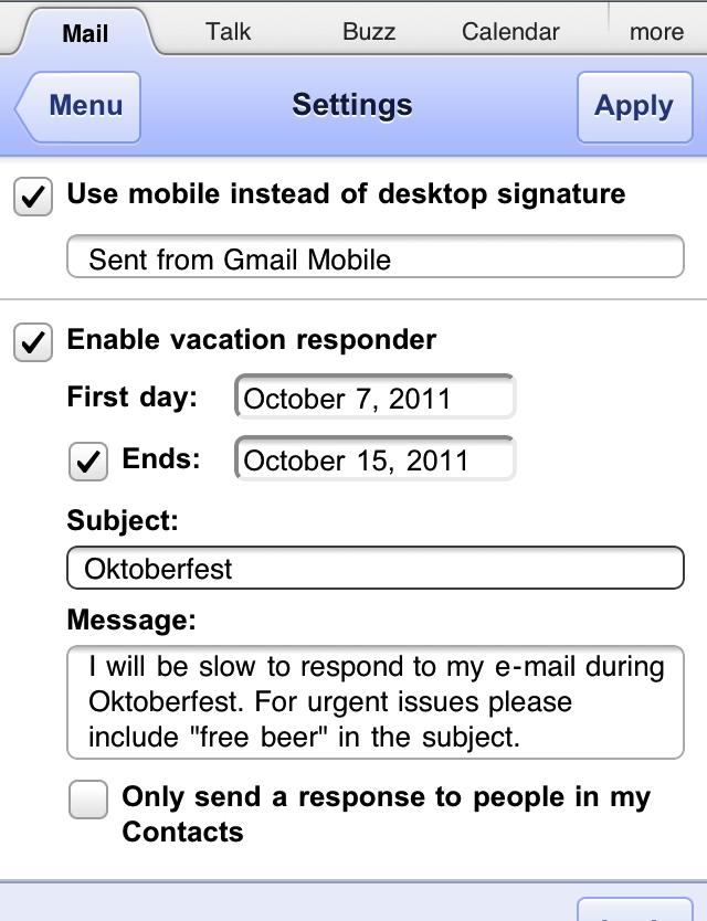 モバイル専用の署名と不在通知の設定画面