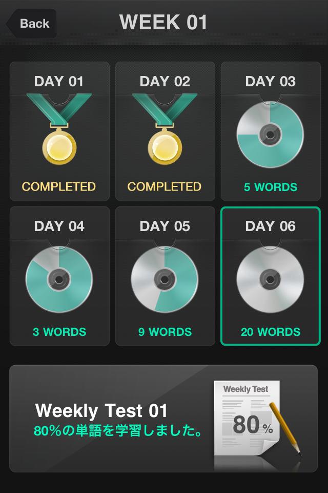 画面下の「Weekly Test」は1週間分の成果をテストできる。スタイルは日々の「TEST」と同じ