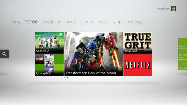 Xbox LIVEダッシュボード