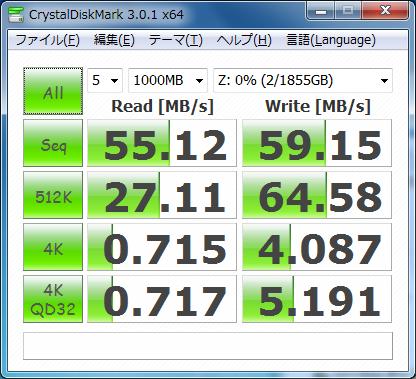 HDL2-A2.0(左)とWindows Home Server 2011(右)のCrystalDiskMarkの結果