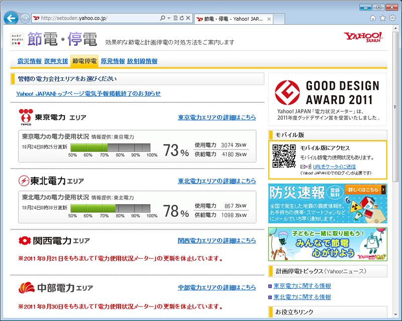 Yahoo!JAPAN「節電・停電」情報。画面は東京電力エリア版。現在の使用状況がひとめでわかる電力情況メーターはスタンダードになり、グッドデザイン賞も受賞した