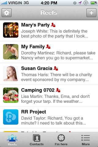 アプリ上ではグループのことを「Reef」といい、メンバー限定のグループや、誰でも参加可能なグループを作成できる