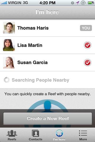 近くにいるアプリの利用者同士でグループを作成する機能