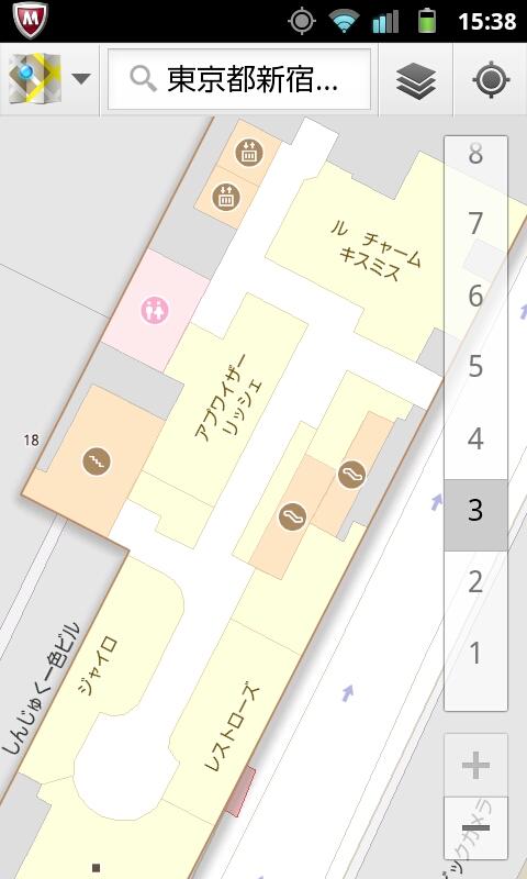 7)新宿マルイカレン         <br>入口前に立ち、まだ屋内に入っていないにもかかわらず5Fを指し示す。屋内に入ってしばらくすると正確になった。ただし窓際は良好だが奥に入ると不正確になる