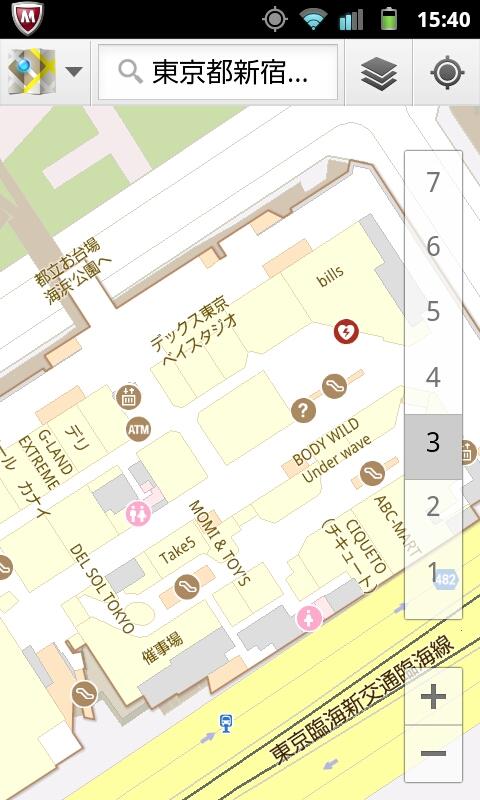 12)デックス東京ビーチ         <br>2つの建物に挟まれた中庭で測位するが、狭いからか反応はにぶい。屋内に入ってもフロアをなかなか正しく示さない