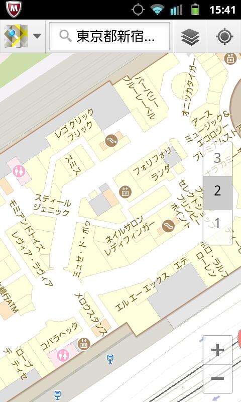 14)お台場ビーナスフォート         <br>フロア表示はけっこう正確で、各階いずれも移動とともに正確に切り替わった。位置表示は少し不正確
