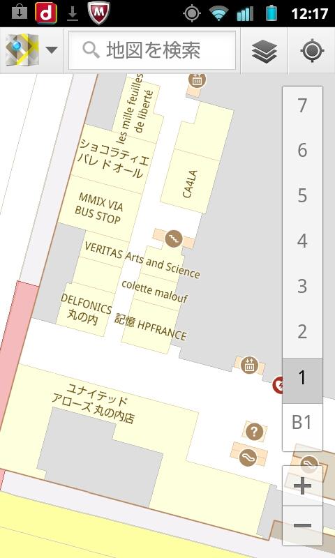 19)新丸の内ビルディング         <br>位置はけっこう正確に出るものの、フロア数を全く示さなかった