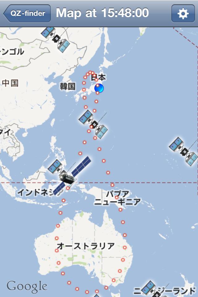 衛星の位置をGoogle Maps上で確認することも可能