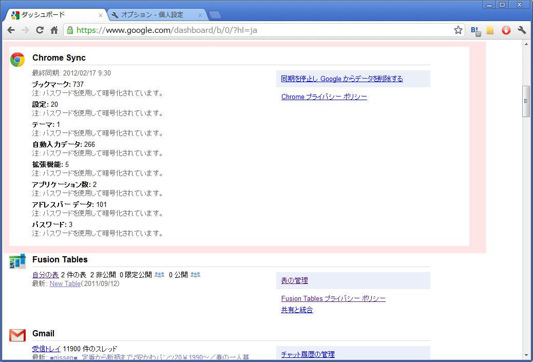 Chrome Syncを利用しており、同期するデータをすべて暗号化している場合の表示