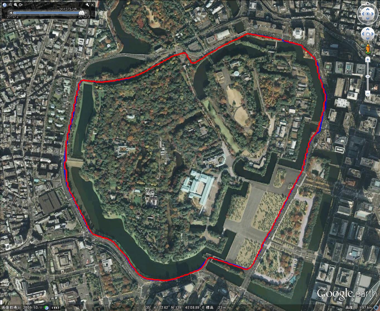 皇居周回コース(全景、Google Earth上で表示)