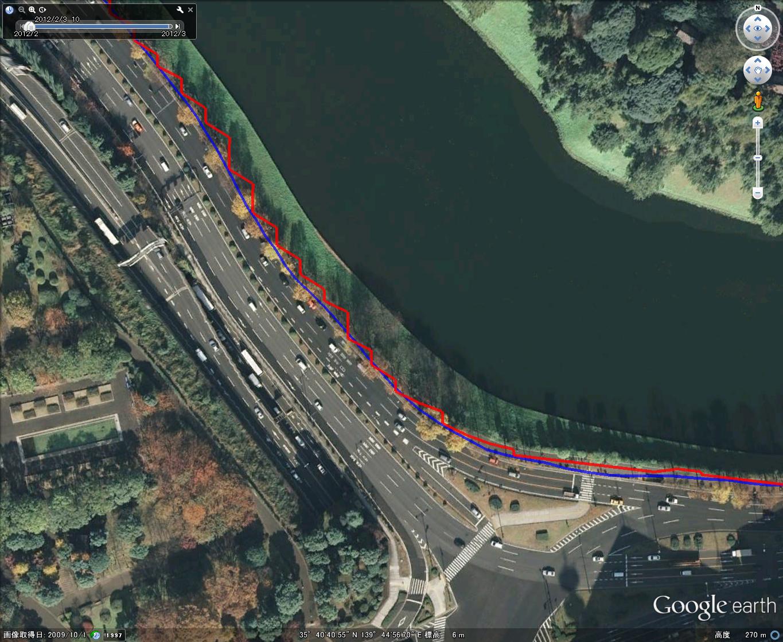 皇居周回コース(三宅坂付近、Google Earth上で表示)